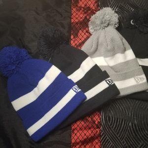 New Era Striped Puff Beanie cap hat